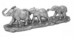 GROUPE D'ELEPHANTS ARGENTES STATUE SCULPTURE