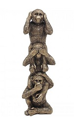 3 SINGES DE LA SAGESSE FACON BRONZE STATUE SCULPTURE