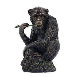 SINGE CHIMPANZE FACON BRONZE STATUE SCULPTURE