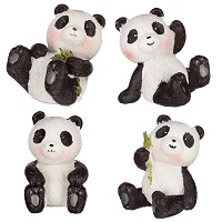 PANDAS FIGURINES ASSORTIES EN RESINE LOT DE 4
